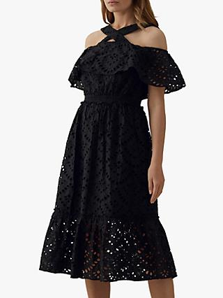 Karen Millen Frill Lace Cotton Midi Dress, Black
