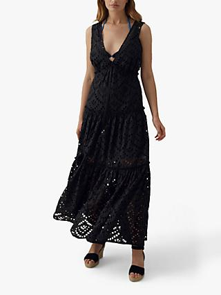 Karen Millen Tiered Lace Cotton Maxi Dress, Black