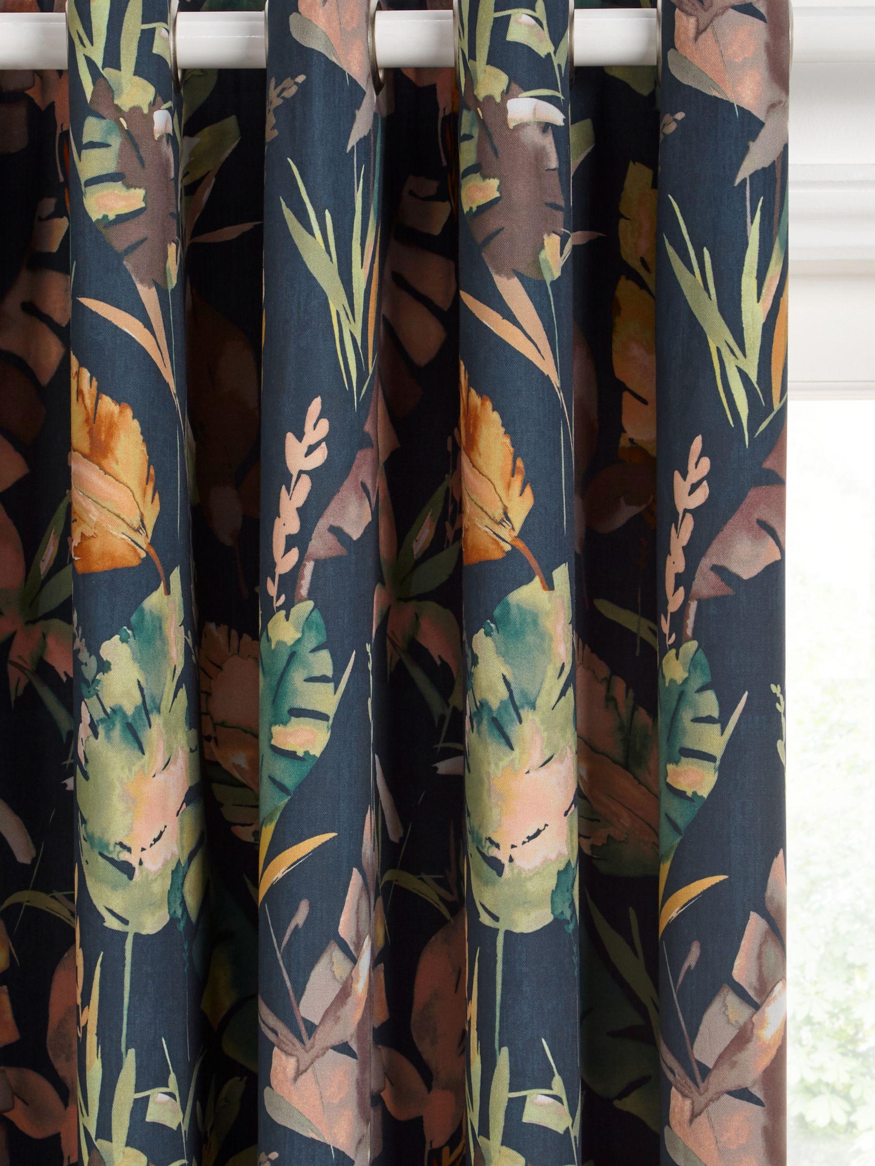 John Lewis & Partners Aralia Pair Blackout Lined Eyelet Curtains, Teal