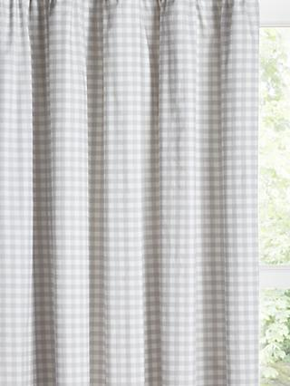 little home at John Lewis Gingham Print Pencil Pleat Blackout Children's Curtains, Grey