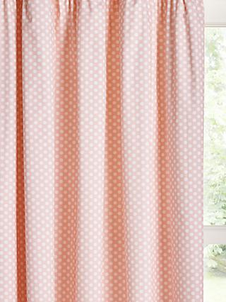 little home at John Lewis Polka Dot Print Pencil Pleat Blackout Children's Curtains, Pink