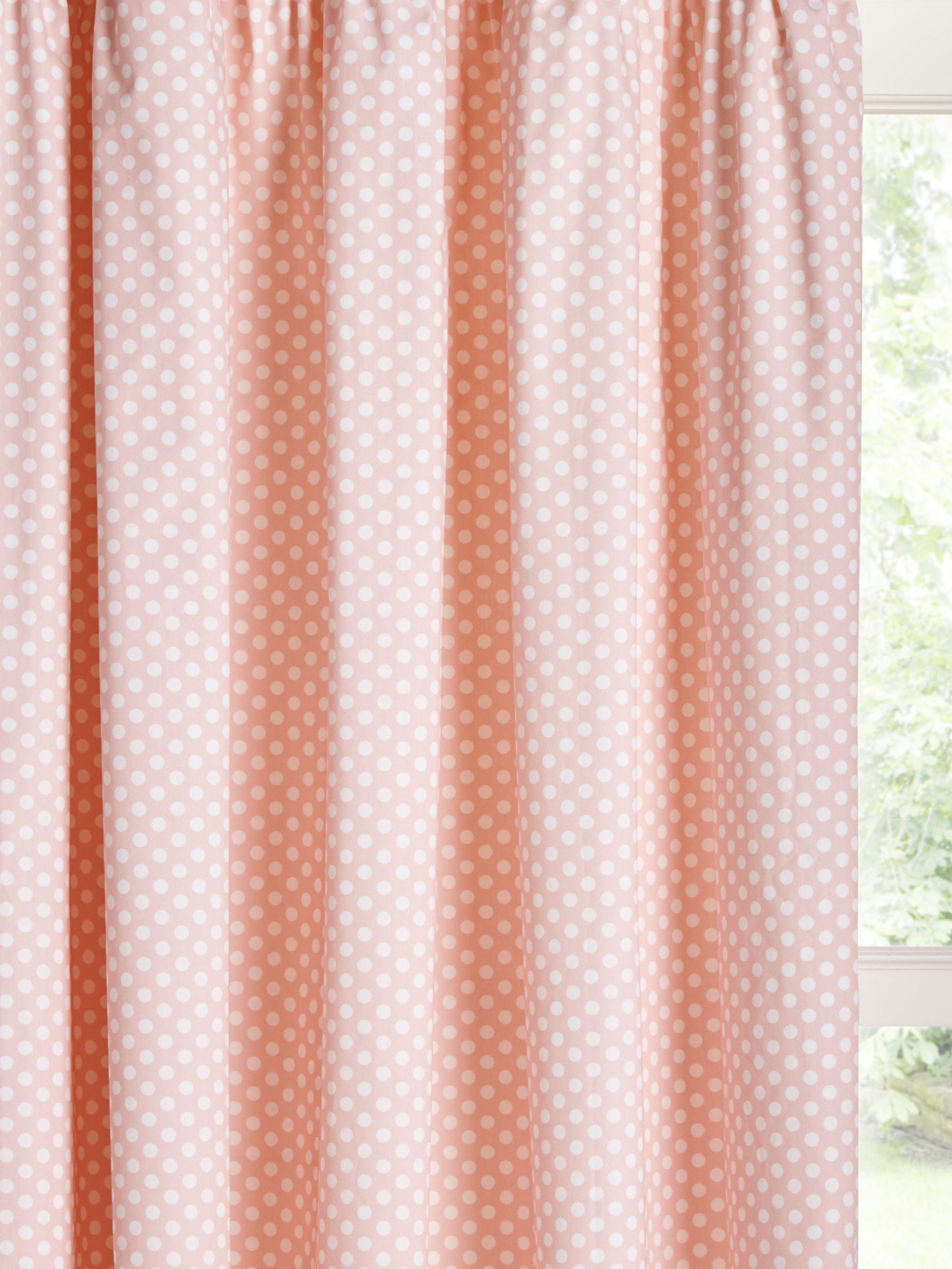 little home at John Lewis little home at John Lewis Polka Dot Print Pencil Pleat Children's Curtains, Pink