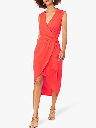 Oasis Wrap Midi Dress, Bright Orange