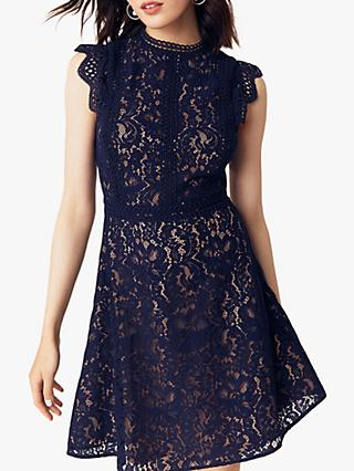 Oasis Lace Trimmed Skater Dress, Blue/Multi