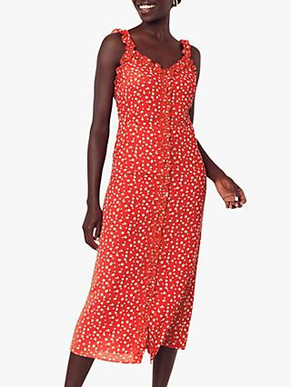 Oasis Floral Ruffle Midi Dress, Red/Multi