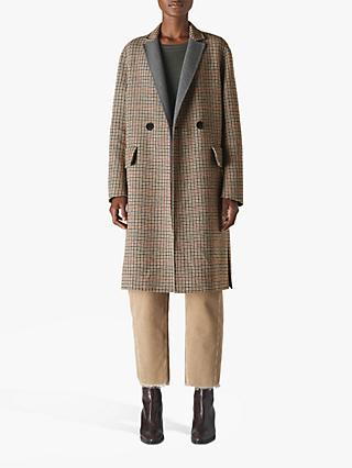 Whistles Check Wool Blend Coat, Multi