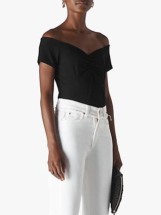 Whistles Gathered Front Bardot Top, Black