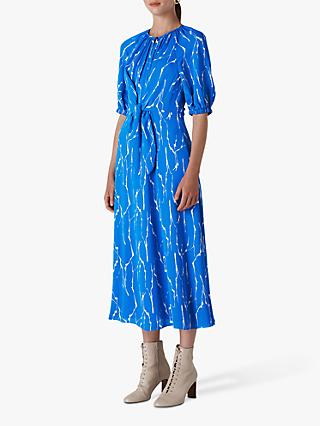 Whistles Monika Twig Print Dress, Blue/Multi
