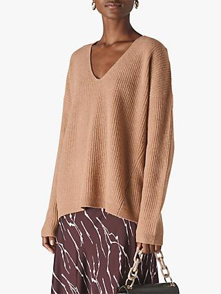 Whistles Oversized V-Neck Merino Wool Jumper