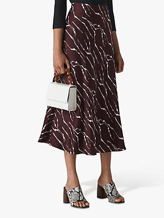 Whistles Twig Print Bias Cut Skirt, Burgundy