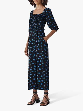 Whistles Scattered Daisy Jumpsuit, Black/Multi