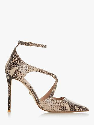Dune Divaa Leather Cross Strap Court Shoes, Reptile Print