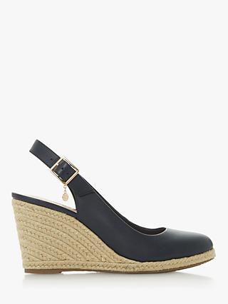Dune Codi T Leather Wedge Heel Sandals