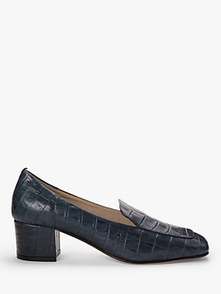 Boden Carina Leather Loafers, Navy Croc