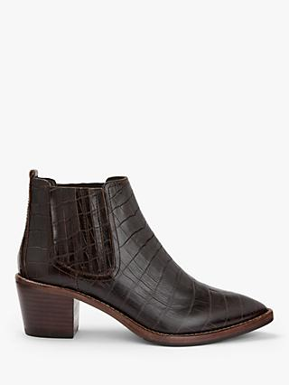 Boden Burwell Croc Leather Ankle Boots, Dark Brown