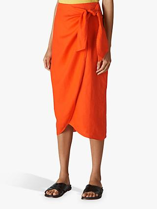 Whistles Layla Linen Sarong Skirt, Orange