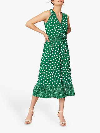 Oasis Spot Tiered Dress, Green