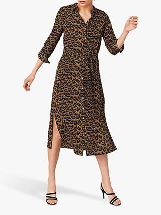 Oasis Leopard Midi Shirt Dress, Animal