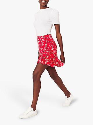 Oasis Ruffle Spot Mini Skirt, Red