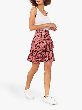 Oasis Floral Ruffle Mini Skirt, Coral