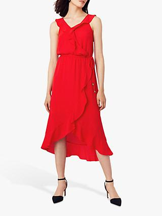 Oasis Ruffle Wrap Skirt Midi Dress, Mid Red