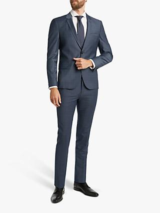 HUGO by Hugo Boss Arti 193 Windowpane Check Super Slim Suit Jacket, Dark Blue