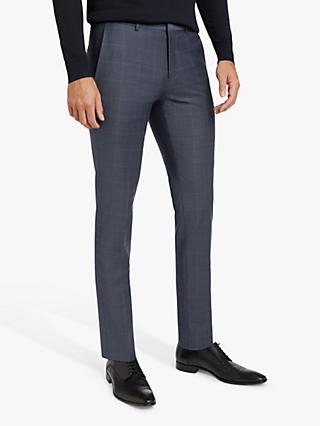 HUGO by Hugo Boss Hesten194 Check Super Slim Suit Trousers, Dark Blue