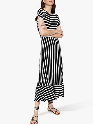Warehouse Striped Open Back Maxi Dress, Black