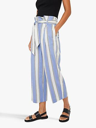 Warehouse Striped Linen Blend Culottes, Blue