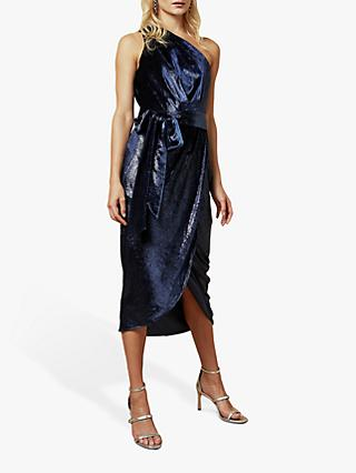 Ted Baker Abinaa Metallic One Shoulder Velvet Midi Dress