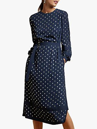 Ted Baker Haylow Long Sleeve Tie Cuff Midi Dress, Dark Blue