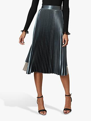 Ted Baker Glaycie Contrast Panel Pleated Midi Dress, Blue Mid
