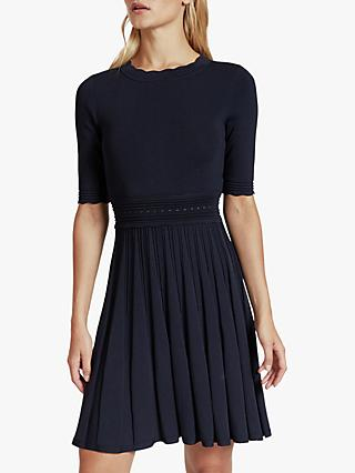Ted Baker Dorlean Scallop Trim Skater Dress, Navy