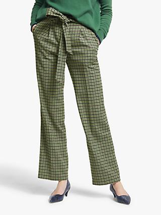 Boden Wool Blend Tweed Tie Waist Trousers, Green/Ivory Check