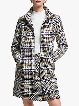 Boden Hengrave Tweed Coat, Grey/Yellow