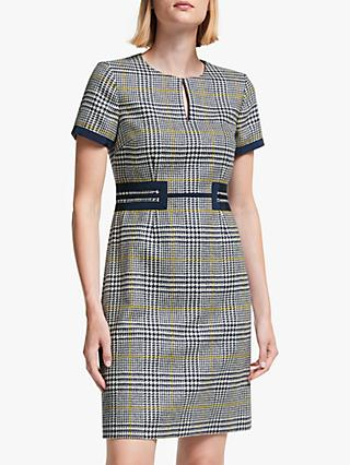 Boden Bridget Tweed Dress, Navy/Saffron Check