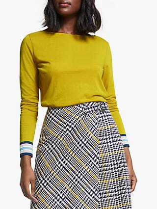 Boden Striped Cuff Top, Saffron