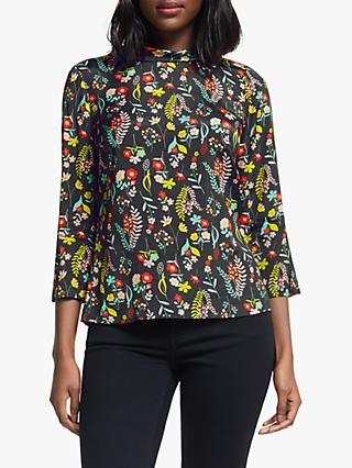 Boden Lily Floral Top, Black/Botany Study