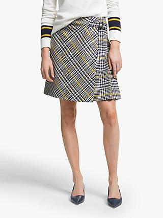Boden Eleanor Tweed Kilt Skirt, Yellow