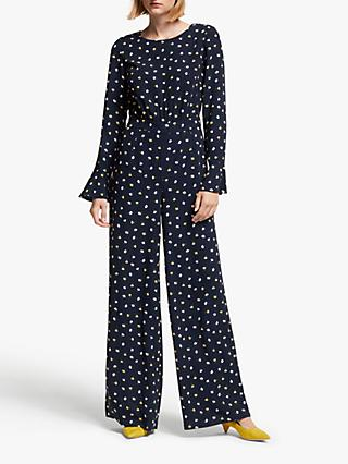 Boden Fluted Sleeve Jumpsuit, Navy