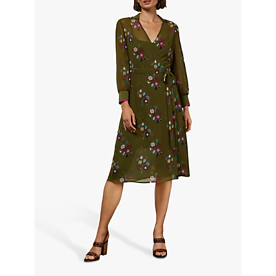 Ted Baker Mammil Floral Wrap Dress, Khaki