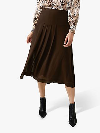Pure Collection Soft Pleat Skirt, Chocolate Brown