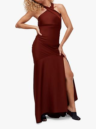 Coast Halter Neck Satin Maxi Dress, Russet
