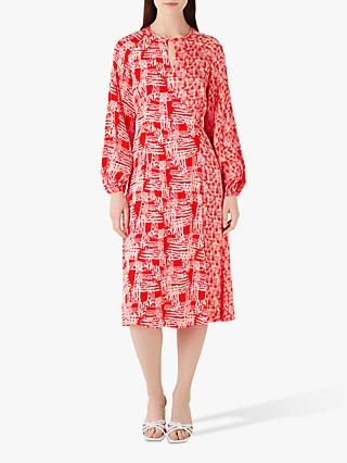 Finery Priory Printed Wrap Dress, Pink