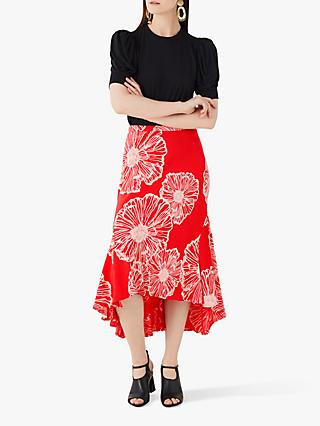 Finery Mardale Poppy Dipped Hem Skirt, Multi