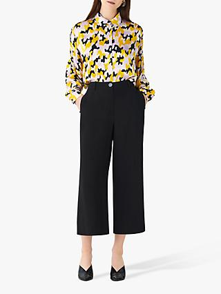 Finery Bristol Wide Leg Cropped Trousers, Black