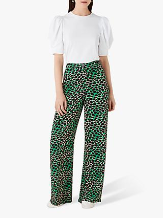 Finery Ashbridge Wide Leg Trousers, Green/Multi