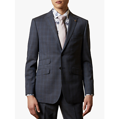 Ted Baker River Wool Check Suit Jacket, Navy