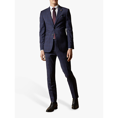 Ted Baker Cooper Wool Check Tailored Suit Jacket, Navy