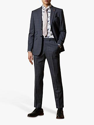 Ted Baker River Wool Check Suit Trousers, Navy